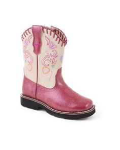 Roper Kid's Fushia Vamp And Creme Shaft Faux Leather Boot