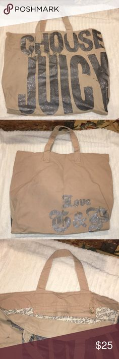 Juicy Couture Canvas Tote Gorgeous Glitter