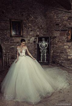 julia kontogruni 2017 bridal off the shoulder deep sweetheart neckline heavily embellished bodice corset tulle skirt princess ball gown beaded back long train (3) mv