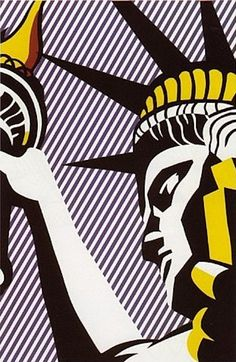 Liberty by Roy Lichtenstein. Artist Roy Fox Lichtenstein was an American pop artist. During the along with Andy Warhol, Jasper Johns, and James Rosenquist among others, he became a leading figure in the new art movement. Roy Lichtenstein Pop Art, Robert Rauschenberg, Jasper Johns, Richard Hamilton, Pop Art Movement, Arte Popular, Cultura Pop, Art Design, Art Plastique