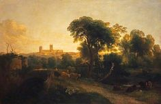 A distant view of Lincoln Cathedral by Peter De Wint (1784-1849).
