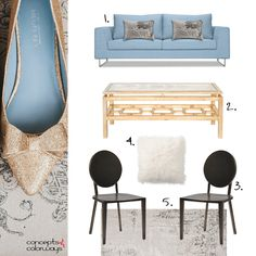 slate blue and gold living room interior, interior styling, interior mood board, interior design, dusty blue sofa, gilded coffee table, taupe rug, black side chairs, white fur pillows, taupe damask pillows, pantone niagara