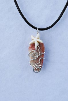 wire wrapped stone pink jasper necklace pink by Rocks2Gems2Wire