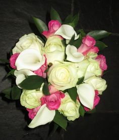 Calla lily and rose bouquet in hot pink and ivory