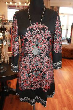 Red/black & grey print sweater dress. Beautiful for a night out!! S-XL, $64.00
