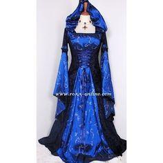 Dark blue hooded medieval dress with hood large sleeves All Dresses