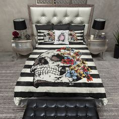 Skull with Bright Flowers and Stripes Duvet Bedding Sets