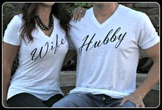 PLEASE SEE OUR SHOP FOR DIFFERENT COLOR OPTIONS NOW!  THIS IS A LISTING FOR THE HUBBY SHIRT ONLY!  I am wearing a Large int this picture. (511 and 170 lbs.) I have different listings with different color shirt options that we offer. Please see our store for the other options or just ask.  The other pictures with the white shirts are just to show that there is a matching wifey shirt if you desire.  A heather white mens very soft and comfortable v-neck. We add a heat transfer of commercial…