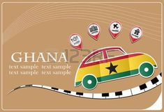 car icon made from the flag of Ghana