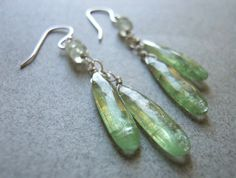 Blades of grass green Kyanite earrings on Etsy, $55.00
