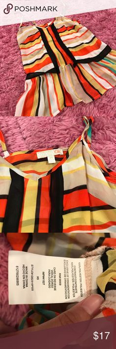 GB sheer peplum tank Peplum style tank top with adjustable straps. NWOT NEVER WORN. Cute for Halloween reminds me of a candy corn ☺️ GB brand Gianni Bini Tops Blouses