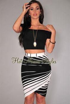 Ivory Stripes Draped Knee Length Skirt.