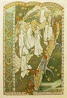 Illustration for Draumkvedet / Draumkvædet, Norwegian medieval ballad, by Gerhard Munthe