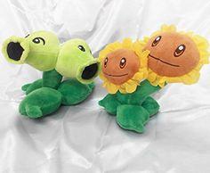 Plants Vs Zombies Series Plush Toy 2pcs Set - Twin Sunflower 15cm/6inch and Split Pea 15cm/6inch @ niftywarehouse.com