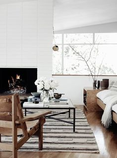 Wood, neutrals and soft textures in the sitting room of a fabulous mid-century modern home in Los Angeles. Pia Ulin / Kinfolk Home.