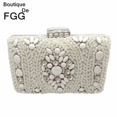 Women Party Handmade White Pearl Clutch Bag Bridal Wedding Beaded Hand bags Metal Clutches Hard Case Crystal Beading Evening Bag //Price: $22.72 & FREE Shipping //     #hashtag1
