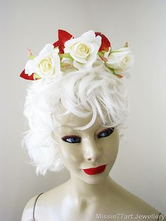 White Rose with Velvet Leaf Flower Crown by Missie77artJewellery