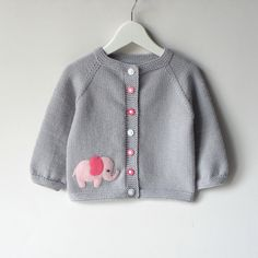 Pink elephant sweater silver grey baby girl jacket merino wool baby cardigan MADE TO ORDER Rosa Elefant Pullover silbergrau Baby Mädchen Jacke Merinowolle Baby Strickjacke MADE TO ORDER Baby Cardigan, Cardigan Bebe, Brown Cardigan, Sweater Jacket, Baby Knitting Patterns, Elephant Sweater, Crochet Baby Jacket, Knitted Baby, Baby Girl Jackets