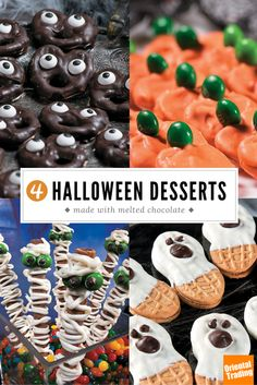 These haunting treats are definitely not daunting.  Terrorize the taste buds of your friends (in a scary good way) with four easy-to-make Halloween desserts. Incorporate real chocolate to make them taste almost as delicious as they look.
