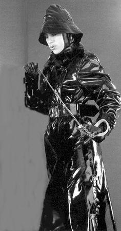 Black pvc mackintosh and sou'wester Black White Photos, Black And White, Rubber Raincoats, Pvc Raincoat, Rain Gear, Raincoats For Women, Unisex, Black Rubber, Rainy Days
