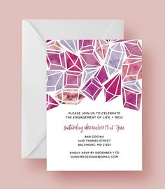 our watercolor diamond engagement party invitations are 5 x 7 and feature an abstract diamond pattern in lovely pink and purple watercolors. text