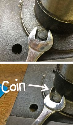 Use a coin or combination of coins to fill the gap between the nut or bolt and the too-large wrench.