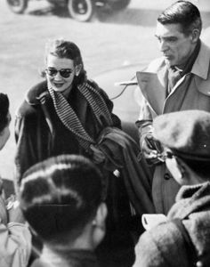 Cary Grant and Betsy Drake greet fans in Japan, c. 1950.