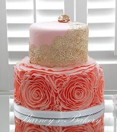 Peach and Gold Wedding Cake, Barney's Bakery