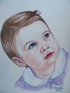 Princess Charlotte: a beautiful portrait in watercolour pencils by Oana Vilara