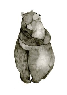 This really is the sweetest. :: Bear Hug  Love  Original Illustration Print by…