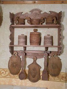 Купить или заказать полка для кухни эксклюзивная в интернет-магазине на Ярмарке Мастеров. Полка в русском домашнем стиле из дерева,может служить как функционально,так и декоративно.Посуда украшена оригинальной резьбой.Цветовая гамма может быть подобрана индивидуально,по Вашему заказу можно изменить набор и формы посуды.Срок изготовления по индивидуальным заказам до 3 недель.Полка высылается в разобранном виде с подробным описанием по с…