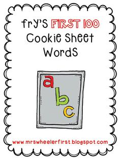 Fry's First 100 Cookie Sheet Word Mats