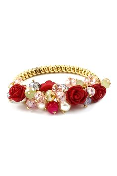 Red Rose Crystal Cluster Bracelet | Awesome Selection of Chic Fashion Jewelry | Emma Stine Limited