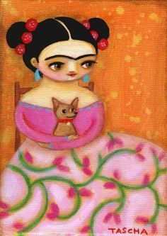 Frida in swirly skirt with chihuahua 2009 Cat Painting, Art Painting, Chihuahua Art, Cat Art, Mexican Folk Art Painting, Art, Cute Cartoon Wallpapers, Folk Art Painting, Creative Art