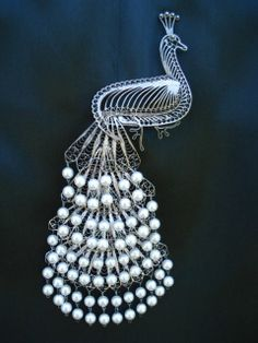 """Rare Antique Victorian 7"""" LONG Elaborate Peacock Brooch Pin Silver Pearls Cascading Detachable Feathers"""