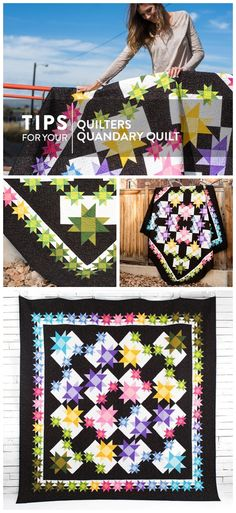 Quilters Quandry quilt kit by Craftsy. Modern star quilt using contrasting colors featuring Boundless Solids. Solids quilt. #starquilt #solidsquilt This is an affiliate link.