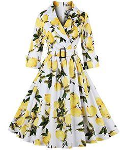 6a644ac0051 ZAFUL Women 1950s Vintage Dress 3 4 Sleeve V Neck Swing P..