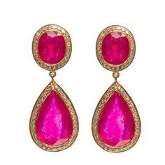 Jade Jagger Pear Shaped Ruby Diamond Gold Earrings | From a unique collection of vintage drop earrings at https://www.1stdibs.com/jewelry/earrings/drop-earrings/