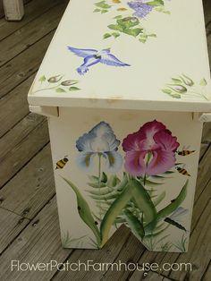 DIY Hand Painted Birds and Bees Garden Bench, FlowerPatchFarmhouse.com