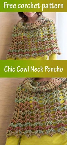 Crochet Poncho Cowl Neck Free Pattern Ideas For 2019 Easy Crochet, Free Crochet, Crochet Top, Irish Crochet, Crochet Ideas, Crochet Projects, Crochet Poncho Patterns, Crochet Shawls And Wraps, Crochet Baby Jacket