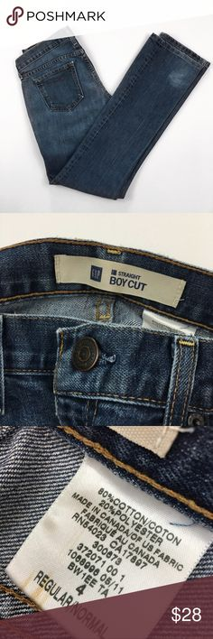 "{GAP} Straight ""Boycut"" Blue Denim Jeans Vintage style straight leg boycut jeans from GAP. Women's size 4 and great high quality denim. EUC GAP Jeans Straight Leg"