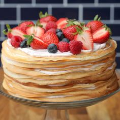 Berry Crepe Cake This crepe cake made with fresh, locally-sourced berries from W. CLICK Image for full details Berry Crepe Cake This crepe cake made with fresh, locally-sourced berries from Walmart is the ultimate desse. Just Desserts, Delicious Desserts, Yummy Food, Baking Recipes, Cake Recipes, Dessert Recipes, Breakfast Dessert, Breakfast Recipes, Birthday Breakfast