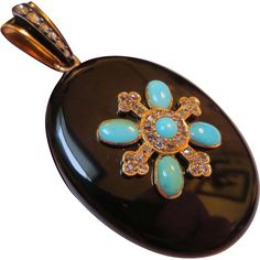 Exceptional Victorian Onyx Rose Cut Diamond & Persian Turquoise 18k Gold Locket