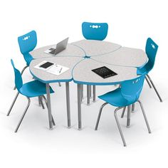 Shapes collaborative desk and Hierarchy student chair classroom package sets. Shown in Gray Nebual with Blue accents. Modern Classroom, Classroom Desk, Classroom Furniture, School Furniture, Classroom Setting, Future Classroom, Office Furniture, Student Chair, Student Desks
