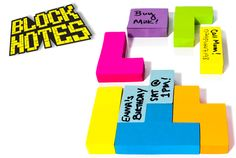 Block Notes are cool Tetris Block-Shaped post its.  They are at suck.uk and around $12