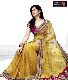 Designer Wear Yellow And Fuchsia Net-Raw Silk Saree http://www.snapdeal.com/product/women-apparel-sarees/DesignerWe-86821?pos=5;1219?utm_source=Fbpost_campaign=Delhi_content=187495_medium=180512_term=Prod