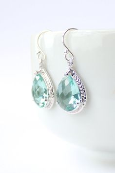 Prasiolite Green / Silver Rope Rim Earrings Light by ForTheMaids