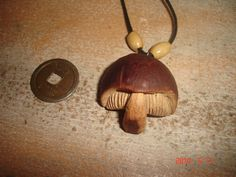 Avocado pit Magic Mushroom Carving by LilithBelial Avocado Art, Avocado Seed, Cheap Ornaments, Wood Bees, Whittling Projects, Mushroom Crafts, Seed Art, Dremel Carving, Bone Crafts