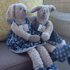 They come in lovey printed dresses. Printed Dresses, Sheep, Sisters, Teddy Bear, Legs, Stylish, Friends, Cotton, Animals