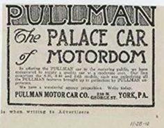 1913 Pullman Motor Car Co York PA Auto Ad